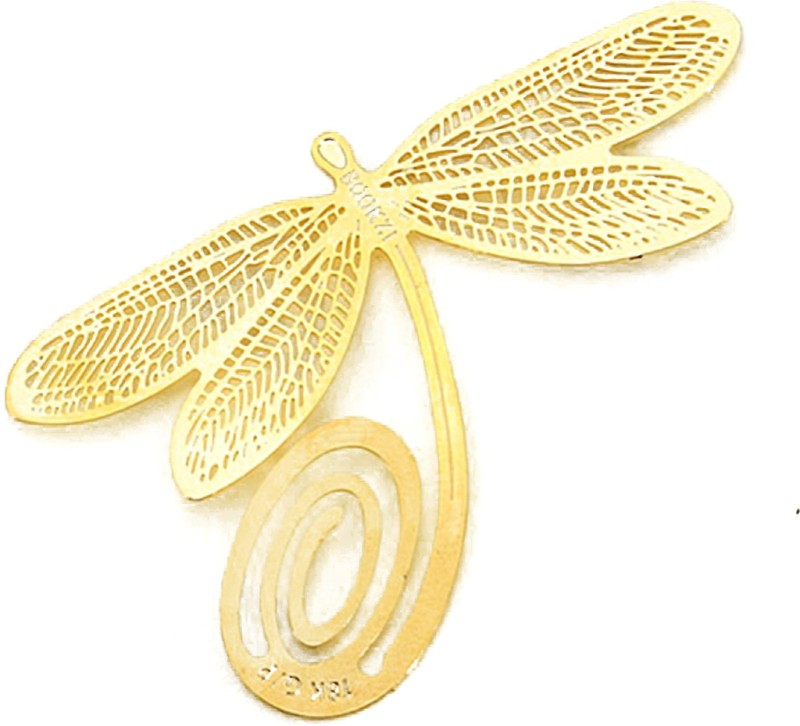Adraxx Gold-Plated Dragonfly Bookmark, An Ideal valentine day Gift For Friends, Family & Loved Ones Metal Clip Bookmark(Classical Exquisite, Golden)