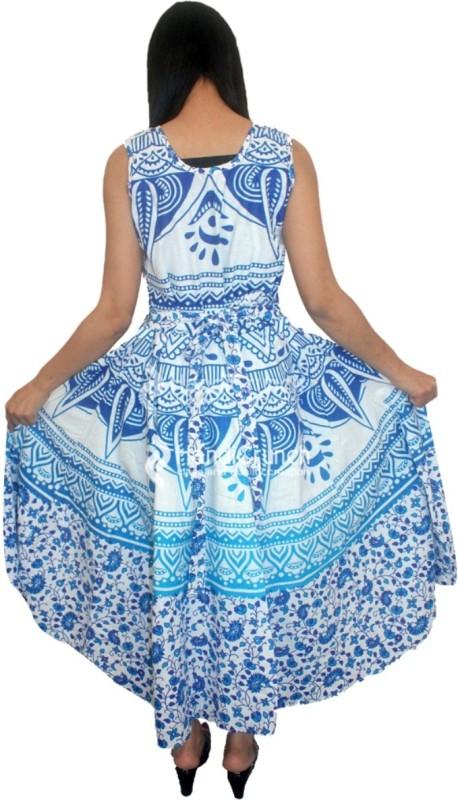 Handicrunch Women's Maxi Blue Dress