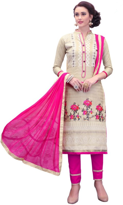 Saara Cotton Embroidered Semi-stitched Salwar Suit Dupatta Material