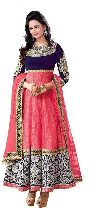 DWITSTYLE Net Embroidered Semi-stitched Salwar Suit Dupatta Material