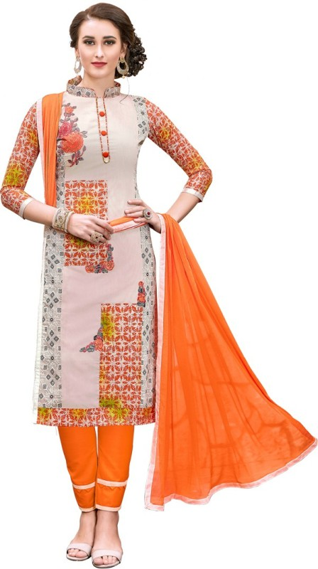 Saara Chanderi Embroidered Semi-stitched Salwar Suit Dupatta Material