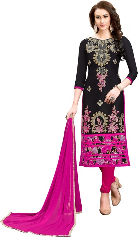 Saara Chanderi Cotton Embroidered Semi-stitched Salwar Suit Dupatta Material