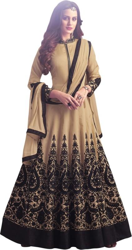 Saara Art Silk Solid, Embroidered, Embellished Semi-stitched Salwar Suit Dupatta Material