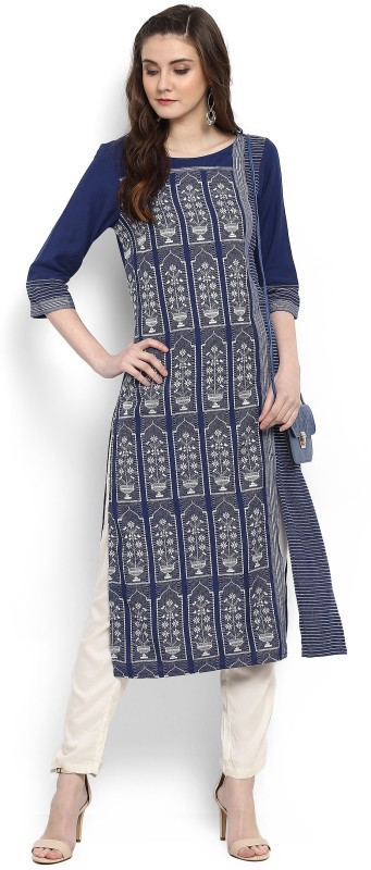 Aurelia Women's Embroidered Straight Kurta(White, Dark Blue)