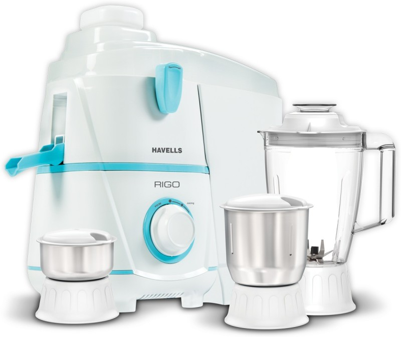 Havells GHFJMBAB050 500 Juicer Mixer Grinder(White and light blue, 3 Jars)