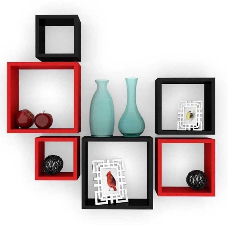 MartCrown wooden wall shelf wall stand Wooden Wall Shelf(Number of Shelves - 6, Black, Red)