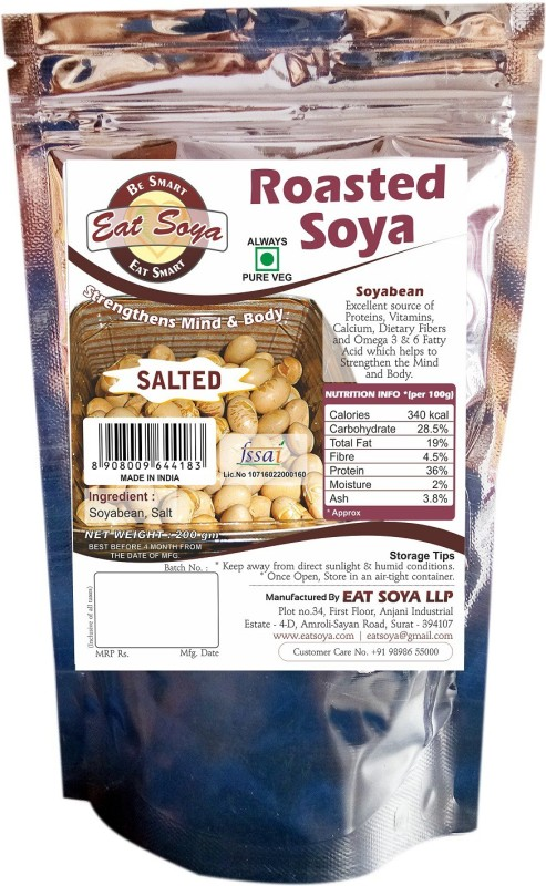 Eat Soya Roasted Soya Salted 200gm Combo (Pack Of 4) Veg Nuggets(0.8 g)