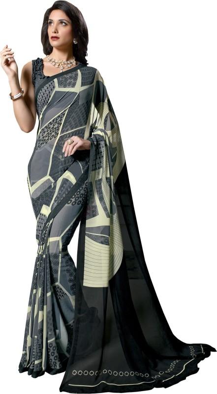 Aruna Sarees Solid, Geometric Print Bollywood Georgette Saree(Multicolor)