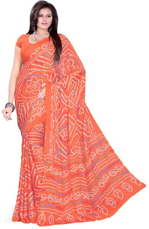 Aaradhya Fashion Printed Bandhani Handloom Poly Crepe Saree(Orange)