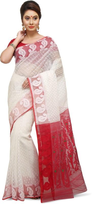 Crochetin Woven Jamdani Cotton Saree(White, Red)