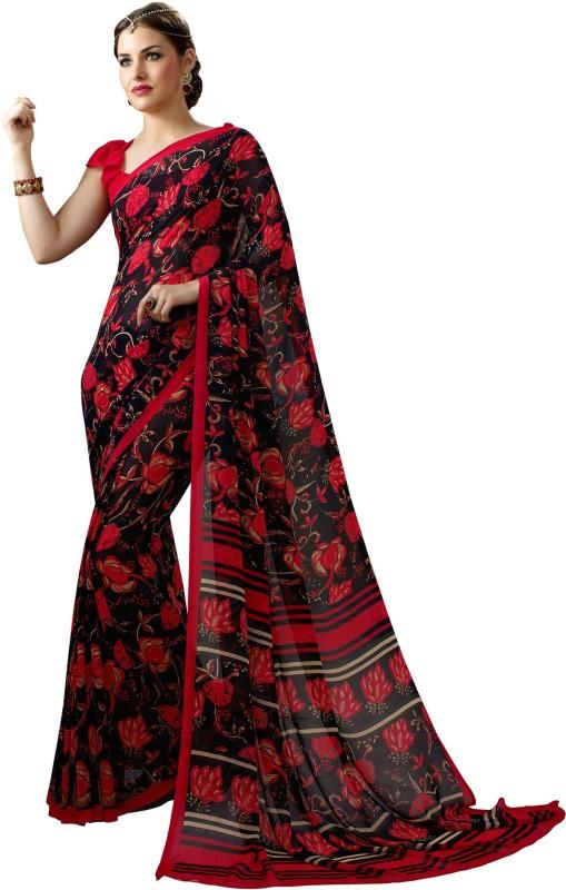 Aruna Sarees Solid, Floral Print Bollywood Georgette Saree(Multicolor)