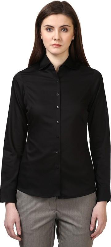 Park Avenue Women Solid Casual Black Shirt