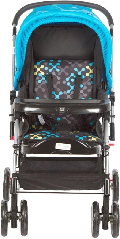 MeeMee Premium Baby Pram with Rocker Function, Rotating Wheels & Adjustable Seat (Blue)(3, Blue)