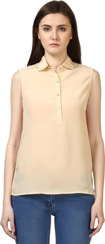 Park Avenue Casual Sleeveless Solid Women Beige Top