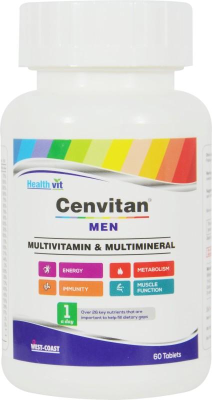 HealthVit Healthvit cenvitan men multivitamin & multimineral, 60 tablets -  increase energy -immunity-metabolism-muscle function(60 No)