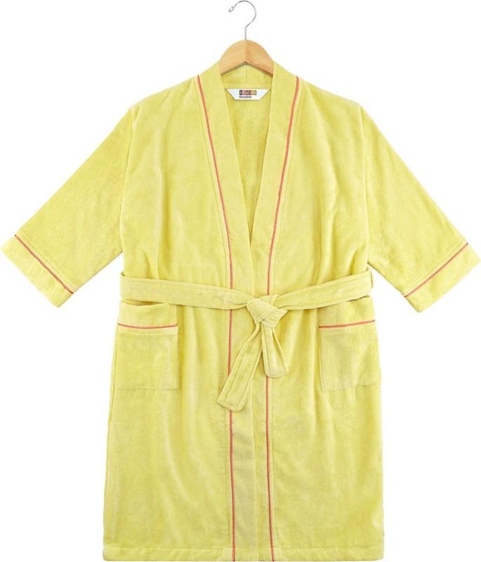 SPACES Custard Medium Bath Robe(1pcs Bath Robe, For: Men & Women, Custard)