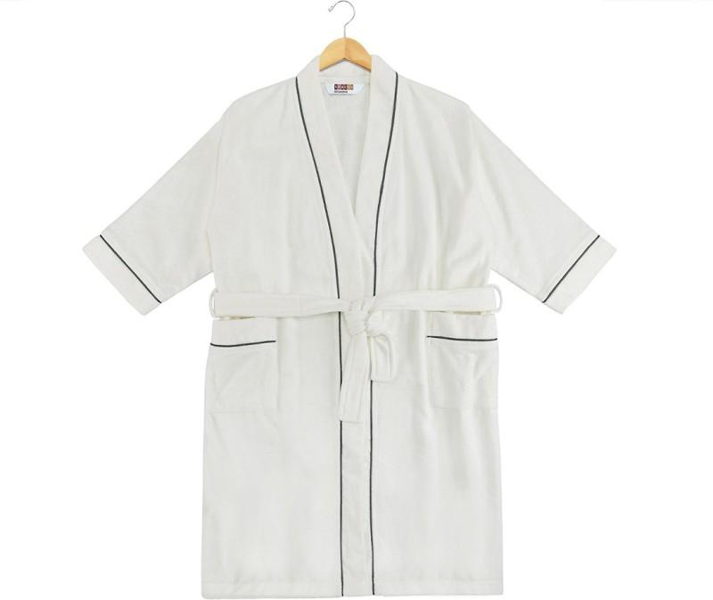 SPACES White Medium Bath Robe(1pcs Bath Robe, For: Men & Women, White)