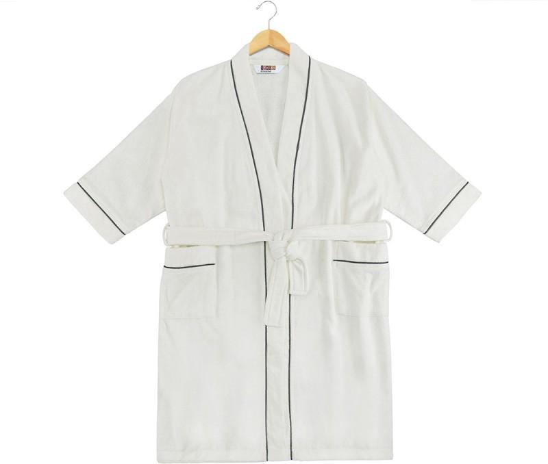 SPACES White-Ash Large Bath Robe(1pcs Bath Robe, For: Men & Women, White-Ash)