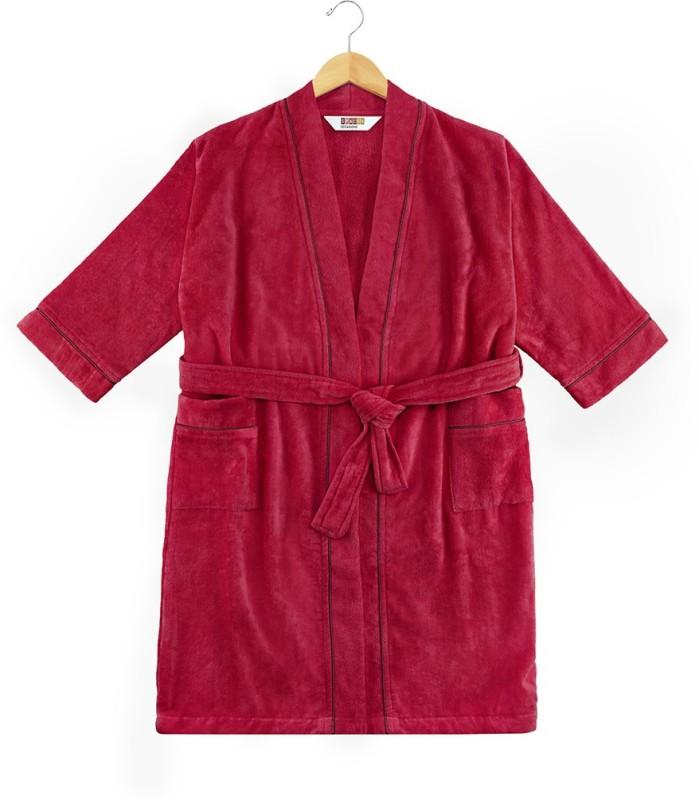 SPACES Wine Large Bath Robe(1pcs Bath Robe, For: Men & Women, Wine)