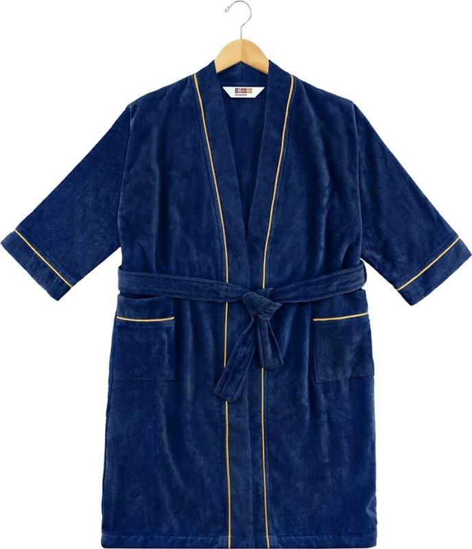 SPACES Blue Medium Bath Robe(1pcs Bath Robe, For: Men & Women, Blue)