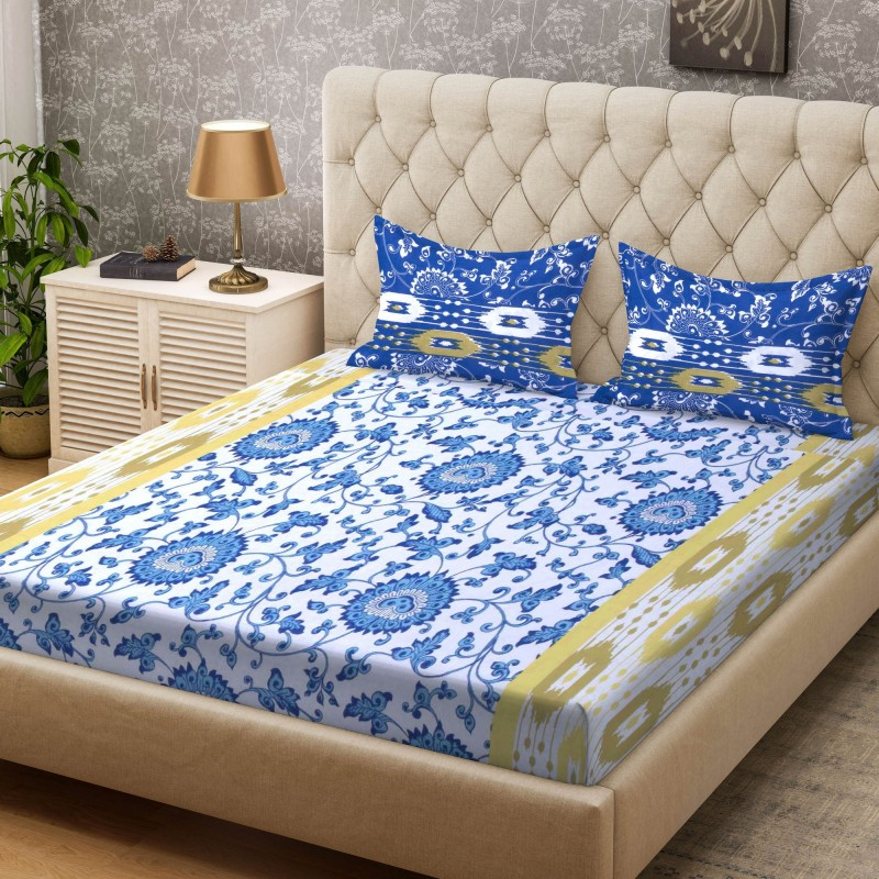Bombay Dyeing 100 TC Cotton Double Printed Bedsheet(1 Bedsheet, Yellow)