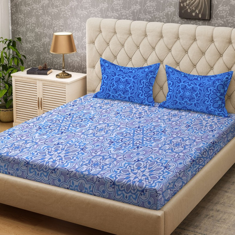 Bombay Dyeing 100 TC Cotton Double Printed Bedsheet(1 Bedsheet, Blue)