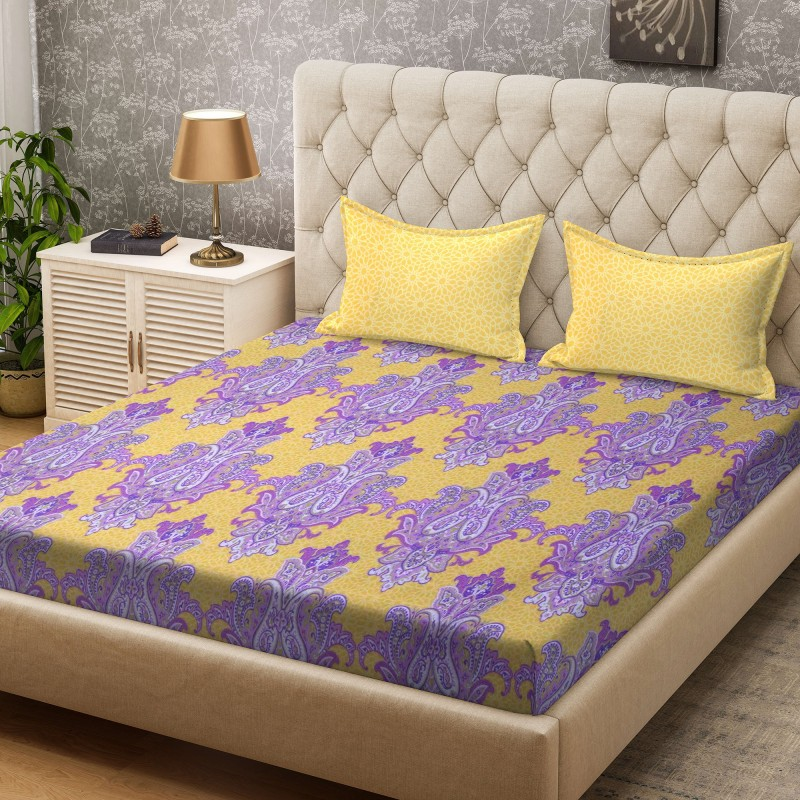 Bombay Dyeing 100 TC Cotton Double Paisley Bedsheet(1 Bedsheet, Yellow)