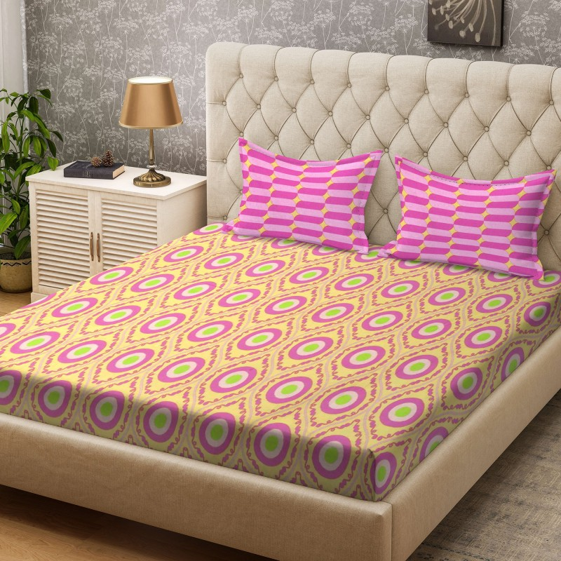 Bombay Dyeing 100 TC Cotton Double Printed Bedsheet(1 Bedsheet, Ochre)