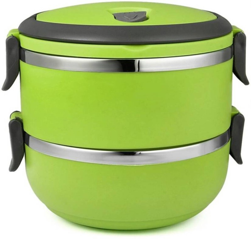 Akshat 2 Layer Stainless Steel Lunch Box (GREEN) 2 Containers Lunch Box(1400 ml)
