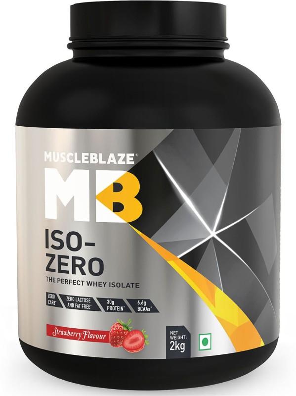 MuscleBlaze Zero Carb Iso-Zero Pure Whey Isolate Whey Protein(2 kg, Strawberry)