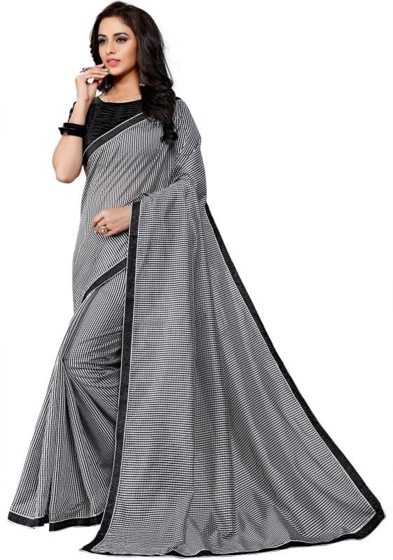 BAPS Printed Bollywood Cotton, Silk Saree(Black, Grey)
