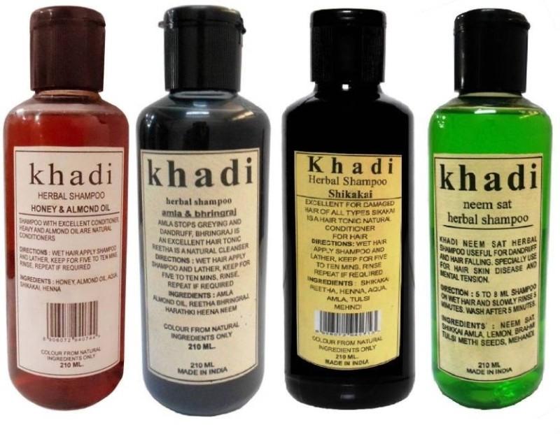 Khadi Herbal Combo Shampoo: Honey & Almond Oil, Amla & Bhringraj,Shikakai & Neem Sat Shampoo ( Pack of 4) 840 GMS(840 ml)