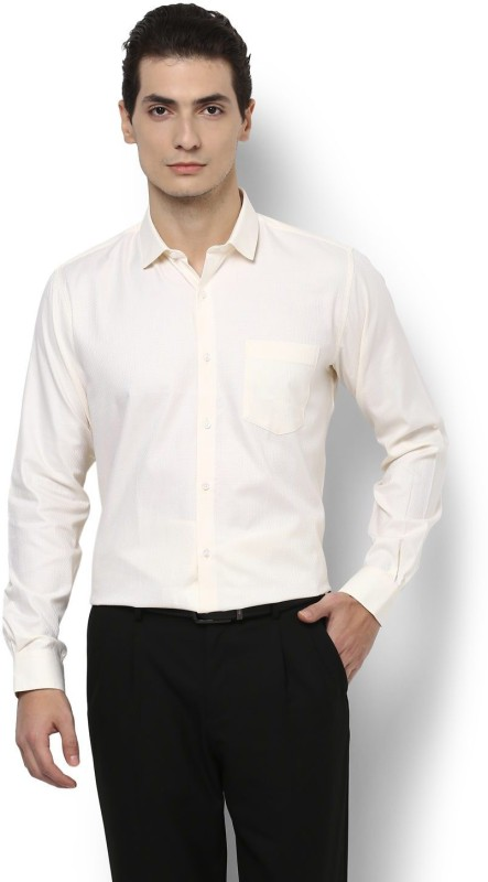 Van Heusen Men Solid Formal Beige Shirt