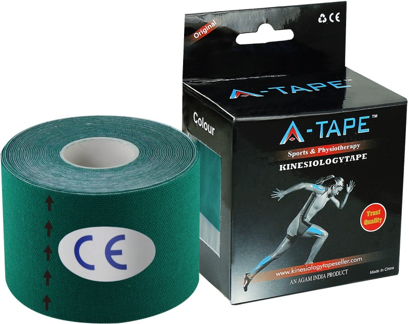 A-TAPE Kinesiology Tape Knee, Calf & Thigh Support (Free Size, Dark Green)