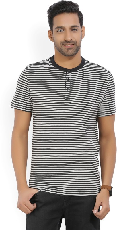 Kenneth Cole Striped Mens Henley Black, White T-Shirt