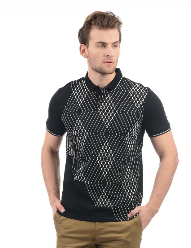 Arrow New York Printed Men Polo Neck Black T-Shirt