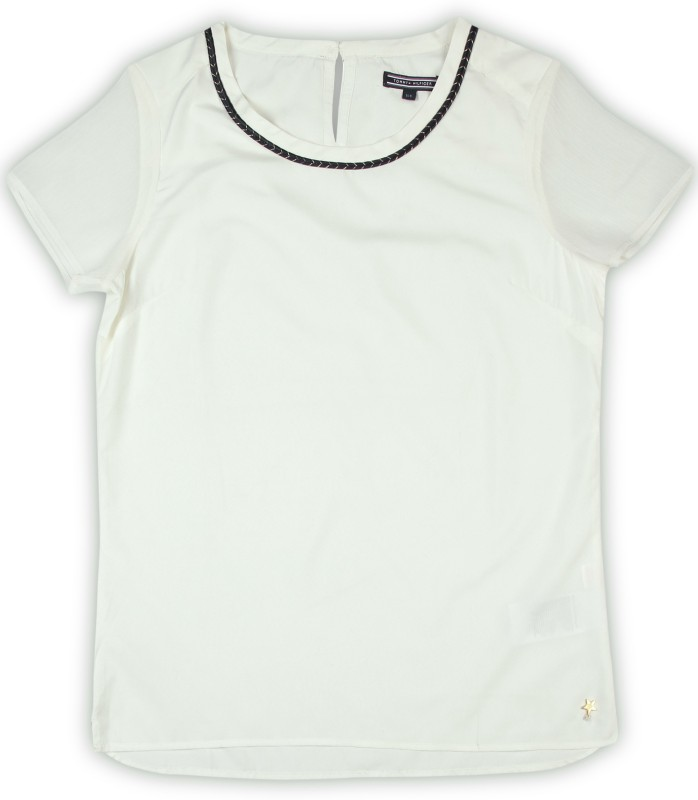 Tommy Hilfiger Casual Short Sleeve Solid Women White Top