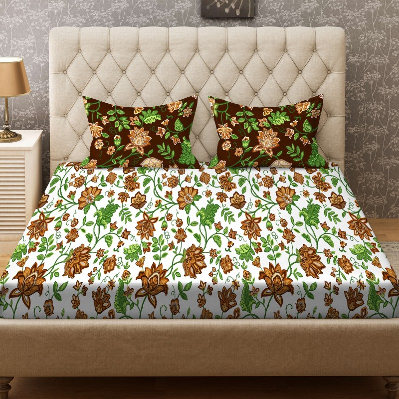 Stellar Home 104 TC Cotton Double Printed Bedsheet(Pack of 1, White, Green, Brown)