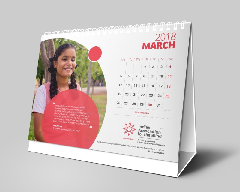 Indian Association for the Blind IAB1 2018 Table Calendar(Multicolor, Motivational)