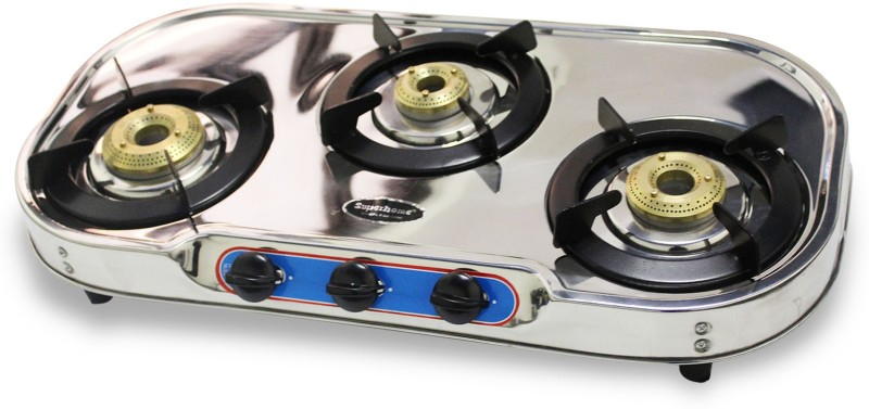 AKSHAT SUPER HOME Stainless Steel Manual Gas Stove (3 Burners) Stainless Steel Manual Gas Stove(3 Burners)