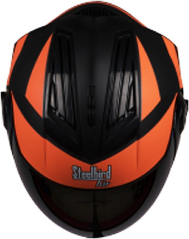 Steelbird SBA-2 Streak Mat Black Orange Helmet 580mm with Golden Visor (With Extra Visor for Night Use) Motorbike Helmet(Black)
