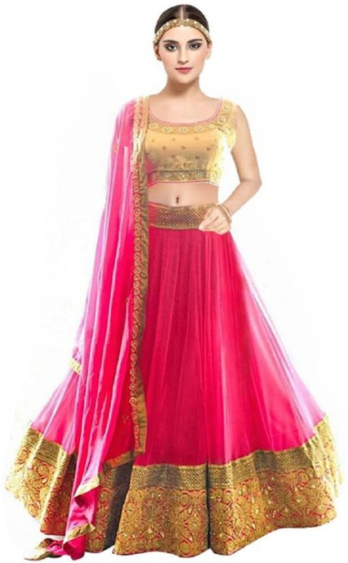 Now And Wow Embroidered Semi Stitched Lehenga, Choli and Dupatta Set(Pink)