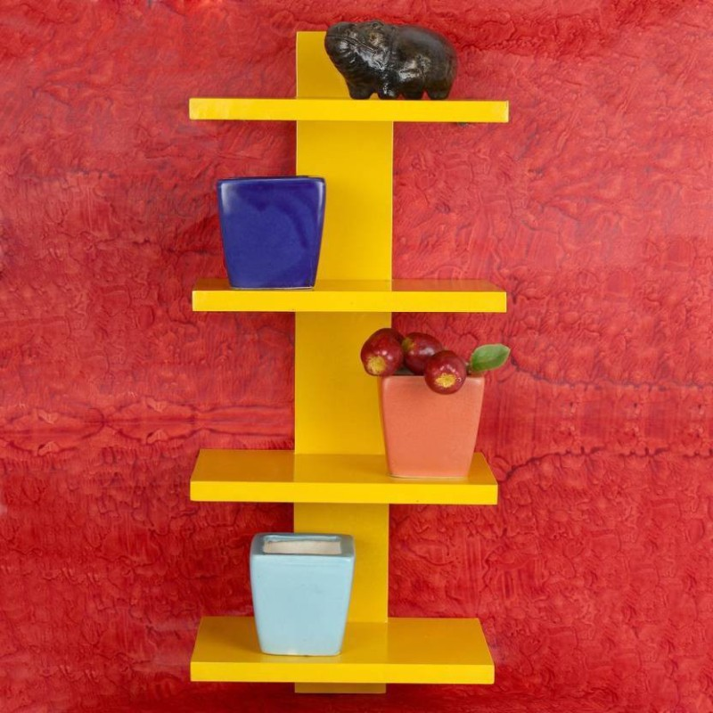 MartCrown wall stand and rack shelf Wooden Wall Shelf(Number of Shelves - 4, Yellow)