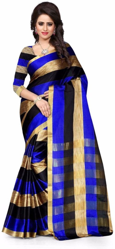 FastColors Striped Bollywood Art Silk Saree(Blue)