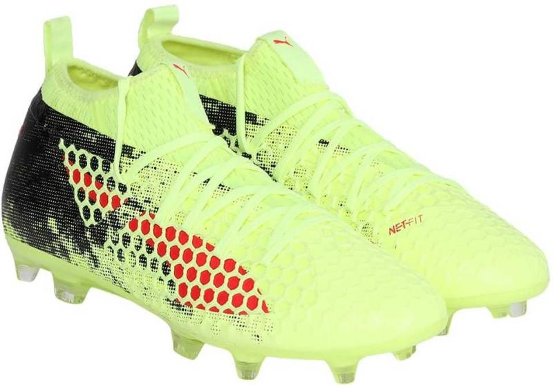 Puma FUTURE 18.2 NETFIT FG AG Football Shoes For Men(Yellow)