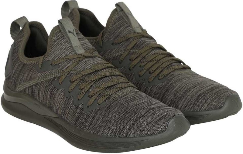 Puma IGNITE Flash evoKNIT Running Shoes For Men(Olive)