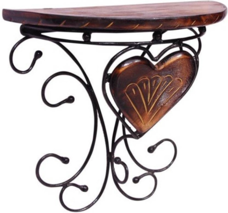 MartCrown wood iron wall decor wall stand and rack shelf Wooden Wall Shelf(Number of Shelves - 1, Brown)