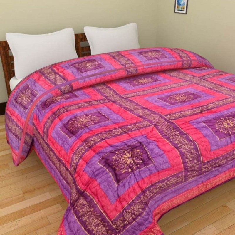 Kanthaexports Printed Single Quilt(Cotton, Purple, Pink)