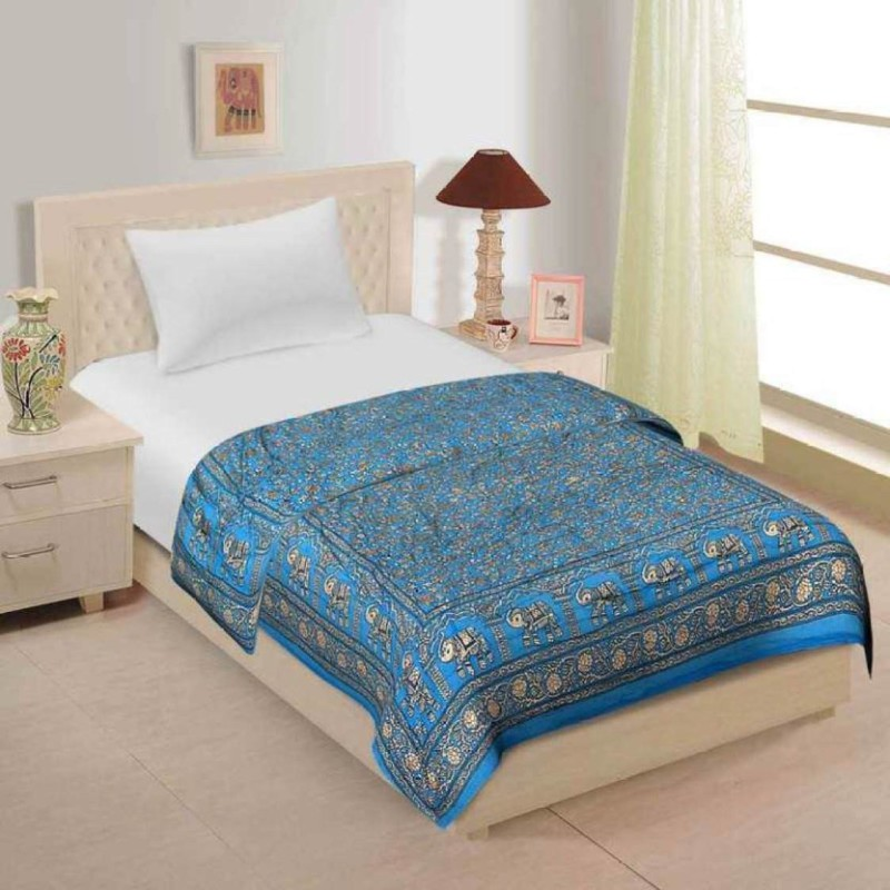 Kanthaexports Printed Double Quilt(Cotton, Blue)