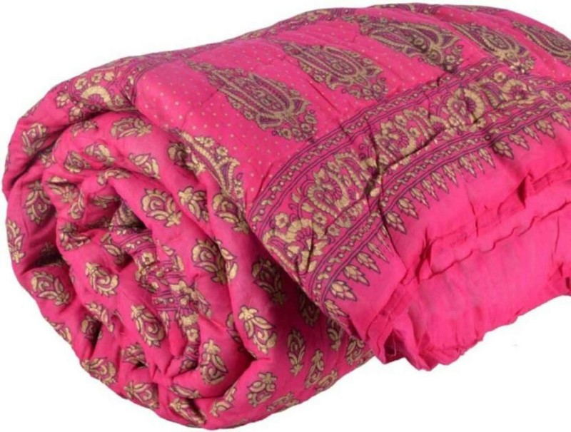 Kanthaexports Printed Double Quilt(Cotton, Pink)